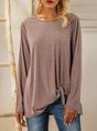 Coffee Crew Neck Casual Asymmetric Shirts & Tops