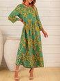Green 3/4 Sleeve Vintage Midi Dress