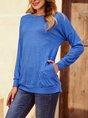 Blue Long Sleeve Crew Neck Shift  Shirts & Tops