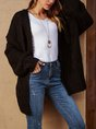 Black Shift Plain Long Sleeve Sweater