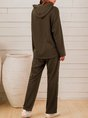 Olive Green Plain Casual Suit