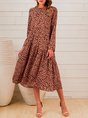 Orange Long Sleeve Casual Dress