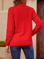 Red Plain Long Sleeve Shift Sweater
