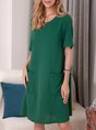 Navy Blue Plain Casual Knitted Dress