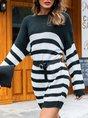 White-Black Casual Stripes Sweater Dress