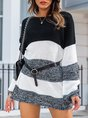 White-Black Knitted Casual Stripes Sweater