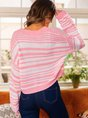 Pink Long Sleeve Color-block Casual Top