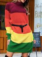 As Picture Shift Color-Block Casual Knitted Sweater