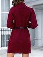 Wine Red Sweet Shift Turtleneck Knitted Sweater
