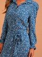 Blue Floral Vintage Lace-up Dress