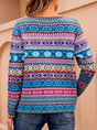 Blue Zipper Long Sleeve  Tribal Sweater Coat