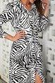 White Zebra Print Vintage V Neck Maxi Dress