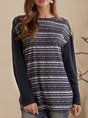 Deep Blue Tribal Crew Neck Casual Shift Top
