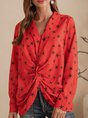 Red Casual Star Shift V Neck Top