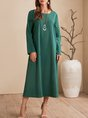 Green Shift Daily Casual Plain Midi Dress