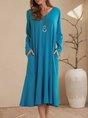 Blue Pockets Shift Long Sleeve Midi Dress