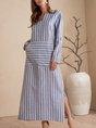 V Neck Blue Shift Pockets Casual Maxi Dress
