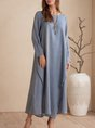 Blue Long Sleeve A-Line Tiered Solid Midi Dress