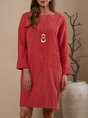 Red Cocoon Daily Casual Plain Mini Dress