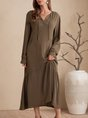Green Long Sleeve Plain Casual Dress