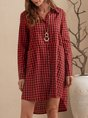 Shirt Collar Red A-Line Daily Casual Dress