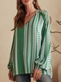 Green Geometric V Neck Shift Casual Top