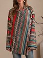 Red Casual Tribal Long Sleeve Outerwear