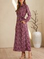 Purple Holiday Shirt Collar Floral Maxi Dress With Belt