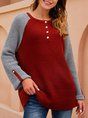 Red Color-Block Solid Long Sleeve Sweater