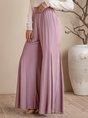 Gray Purple Casual Plain Wide Leg Pants