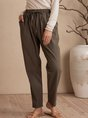 Gray Green Shift Pockets Plain Casual Pants