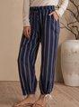 Blue Stripes Shift Pockets Casual Pants