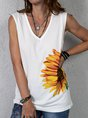 Sleeveless Floral Printed Cotton Blouse