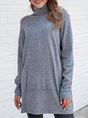 Grey-Blue Casual Long Sleeve Sweater