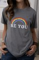 Vintage Short Sleeve Rainbow Letter Printed Plus Size Casual Top
