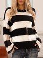 Black Striped Crew Neck Paneled Casual Sweater
