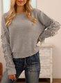 Grey Knitted Bateau/boat Neck Vintage Tassel Sweater