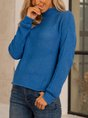 Blue Knitted Long Sleeve Solid Turtleneck Sweater