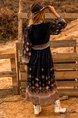 Black Long Sleeve Tribal V Neck Dress
