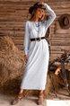 Gray Long Sleeve Shift With Belt Dress