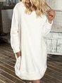 White Round Neck Cotton-Blend Casual Patchwork Dress