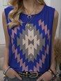 Vintage Sleeveless Boho Geometric Printed Crew Neck Plus Size Casual Vest Tops