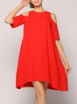 Cold Shoulder Red Midi Dress A-line Casual Solid Dress