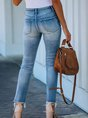 Light Blue Ripped Denim Casual Pants