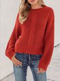 Red Solid Casual Crew Neck Sweater