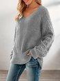 Gray Long Sleeve Knitted Shift V Neck Sweater