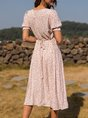 Shift Short Sleeve Sweet V Neck Dress