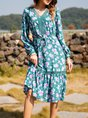 Cotton-Blend Long Sleeve Shift V Neck Dress