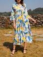 Cotton-Blend Floral-Print Boho V Neck Dress