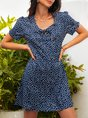 Lace-Up Floral Casual Short Sleeve Dress